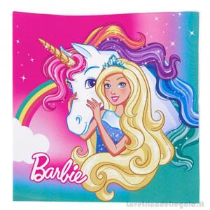 20 pz - Tovaglioli Barbie Dreamtopia Compleanno bimba 33x33 cm - Party tavola