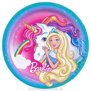 8 pz - Piatti grandi Barbie Dreamtopia Compleanno bimba 23 cm - Party tavola