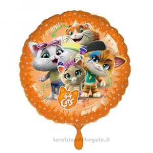 Palloncino rotondo Foil 44 Gatti Compleanno bimbi 43 cm - Party allestimento