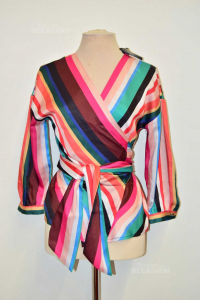 Shirt Woman Linù Sizexl Incrociata Striped Colored Mixed