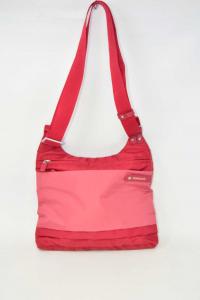 Canvas Shoulder Bag Red Roncato 2 Cerniere 23x29 Cm