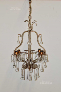 Chandelier Bronze Conn Drops Crystal 60cm Approx,5 Lights