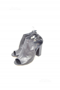 Ankle Boots Woman Jpq Black In Leather N° 37,heel 9 Cm