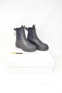 Ankle Boots Woman Chiarini Bologna In True Leather N° 36 Black Used Very Little