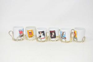 6 Ceramic Cups White Ramazzotti With Print