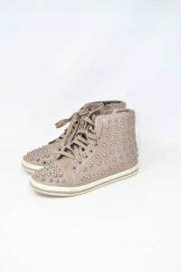 Ankle Boot Woman Studded Color Beige N°.37