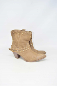 Boot Woman Beige Suede N°.37 Brand Geoxto Typ