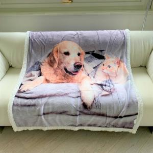 Plaid stampa digitale Cane e gatto