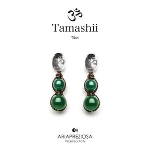 Orecchini Tamashii in Argento con Agata Verde