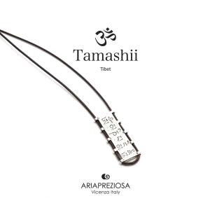 Tamashii Collana bandiere tibetane in Argento - marrone