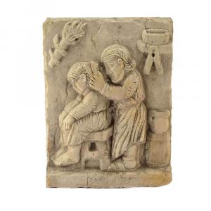Bassorilievo Mestiere antico barbiere in marmo di Trani scolpito a mano