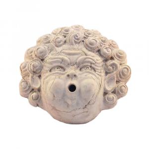 Mascherone Eolo da parete in marmo Rosa Asiago scolpito a mano per fontana
