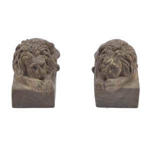 Coppia di leoni fermacarte in marmo Breccia Medea scolpito a mano