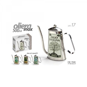 Oliera in Acciaio Inox Capienza 500 ml 17 cm Per Olio Con Decorazioni Natura Casa