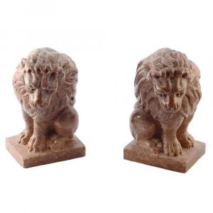 Coppia di leoni fermacarte in Porfido Rosso Verzegnis scolpito a mano