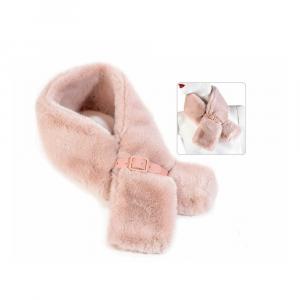 Scaldacollo rosa in morbida eco pelliccia con fibbia di chiusura