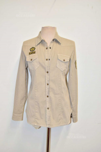 Shirt Womanxextra Beige Size 46 With Patches