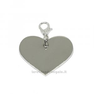 Ciondolo cuore in metallo argentato 2.4x2.6 cm - Decorazioni bomboniere