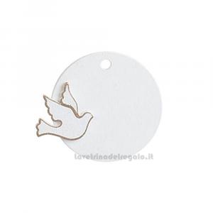 Applicazione cerchio Bianco con Colomba in legno 4.5 cm - Decorazioni comunione e cresima