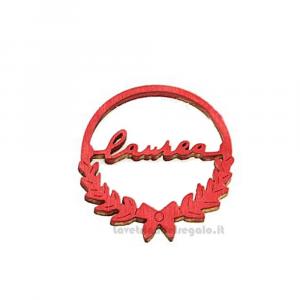 Ciondolo Rosso con scritta Laurea in legno 4.5 cm - Decorazioni laurea