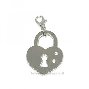 Ciondolo lucchetto cuore in metallo argentato 2.4x3.1 cm - Decorazioni matrimonio