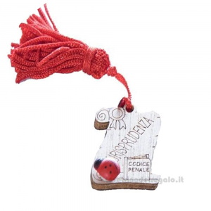 Magnete Pergamena Giurisprudenza con nappina Rossa e coccinella in legno 3.5 cm - Bomboniera laurea