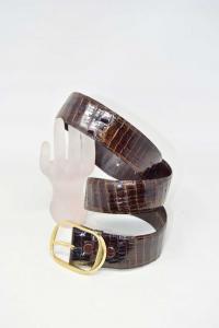 Cintura In Vera Pelle Coccodrillo 4cm Con Fibbia Staccabile