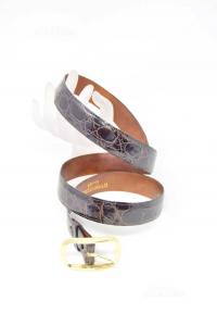 Cintura In Vera Pelle Coccodrillo 3cm Con Fibbia Staccabile