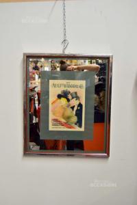 Quadro Specchio Con Manifesto Vintage The Ault Wiborg 57x67 Cm