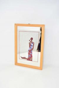 Specchio Vintage Vogue 22.5x32.5 Cm Incorniciato