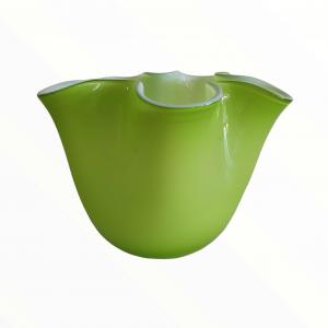 Vaso vetro fazzoletto verde chiaro medio
