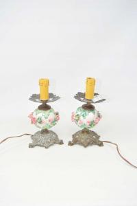 Pair Abat-jour Ceramic And Brass With Roses H 20 Cm