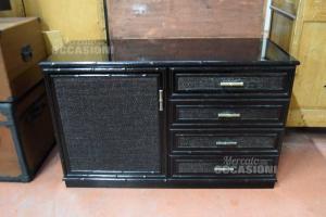 Cabinet In Rattan Black 1 Door 4 Drawers