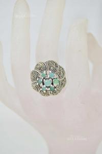 Anello In Argento 925 Con Fiore Verde