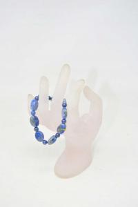 Braccialetto Elastico Con Pietra Blu 16 Cm