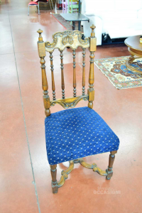 Wooden Chairs With Sitting Coated In Blue 6 Pieces