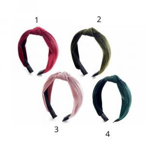 Cerchietto per capelli in velluto liscio con nodo decorativo