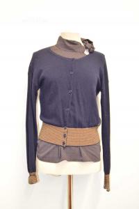 Set Woman Marina Yachting Cardigan + Shirt Size M Brown Blue