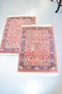 Pair Carpets Rug Pink Persiani Mehraban Wool Cotton 88x62 Cm + Certified