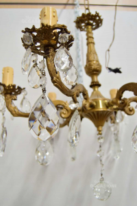 Brass Chandlier To 6 Braccia With Drops Of Crystal