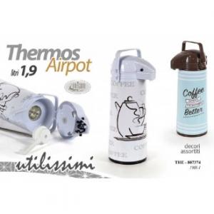 Airpot Thermos 1,9 Litri Con Decori Assortiti Con Manico Pratico Per Bevande Calde Da Portare Con Sé Casa
