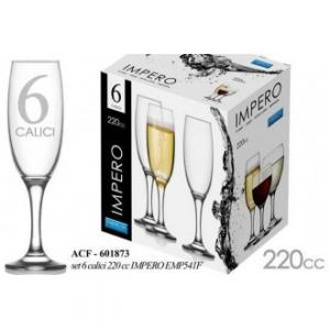 Linea Impero Set 6 Flute Per Champagne e Prosecco In Vetro 220 cl Trasparente Confezione Bicchieri Casa Cucina