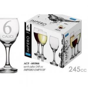 Linea Impero Set 6 Calici Da Vino In Vetro 245 cl Trasparente Confezione Bicchieri Casa Cucina