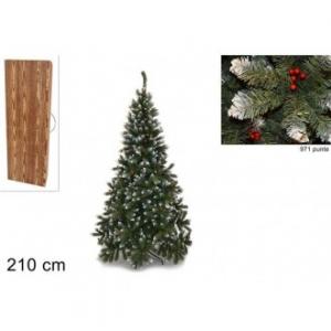 Pino Del Paradiso Albero Natalizio 210 Cm 971 Punte Innevate Con Bacche Confezione In Legno Decorare Casa Natale