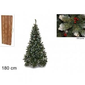 Pino Del Paradiso Albero Natalizio 180 Cm 645 Punte Innevate Con Bacche Confezione In Legno Decorare Casa Natale