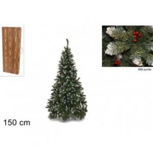 Pino Del Paradiso Albero Natalizio 150 Cm Di Altezza Con Punte Innevate e Bacche Decorato 399 Punte Arredare Natale