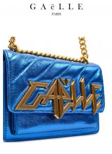 Borsa donna colore blu elettrico | tracolla in catena e tessuto | Marca GAELLE