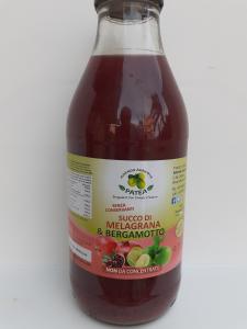 Succo di Melagrana e Bergamotto di Reggio Calabria senza conservanti , non da concentrato 0,75 cl . Az. Agr Patea di Brancaleone (RC)