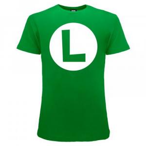 Super Mario maglietta manica corta logo Luigi dalla taglia XS alla XXL