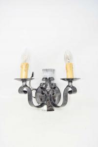 Iron Wall Lamp Beaten 2 Lights 30x26 Cm Approx